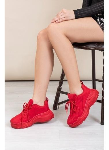Tonny Black Kırmızı Süet Bayan Spor Ayakkabı  Bls-Q Kırmızı